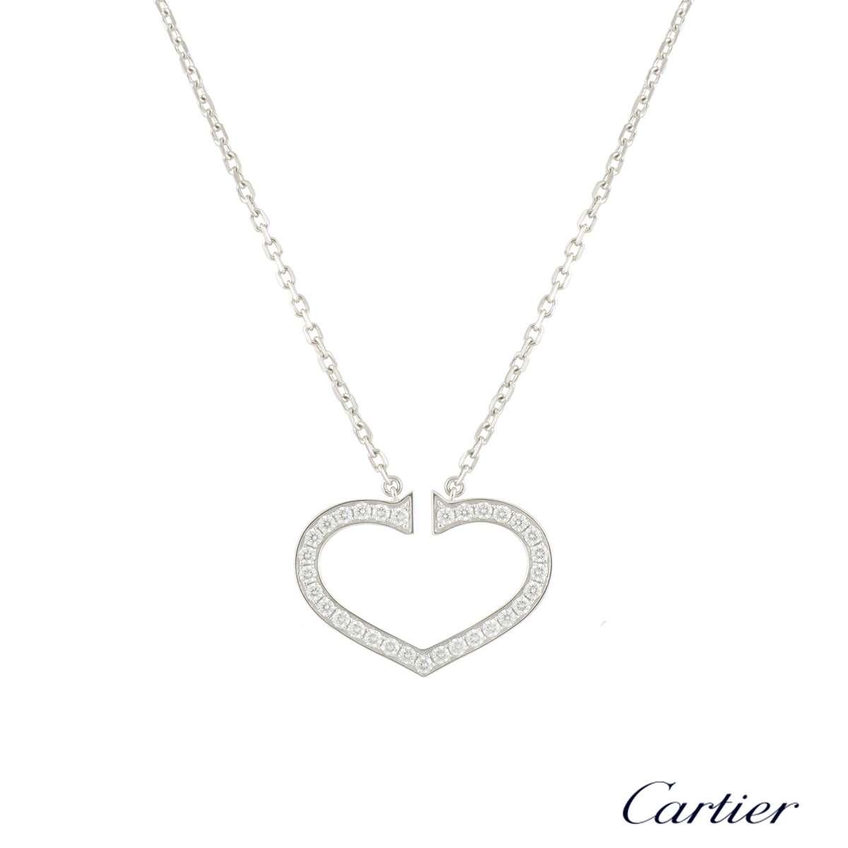 Cartier White Gold Diamond Hearts and Symbols Necklace 0.58ct G+/VS B3040600